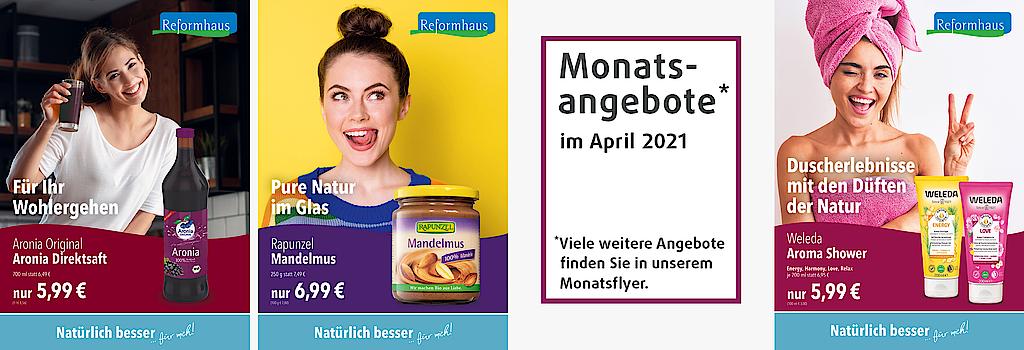 """""""Angebote für den Monat April: Aronia Direktsaft, Rapunzel Mandelmus und Weleda Aroma Shower"""""""