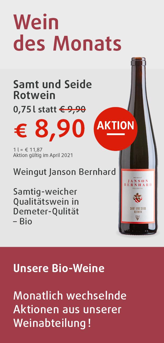 Wein des Monats Samt und Seide Rotwein 0,75l, statt 9,90 Euro jetzt nur 8,90 Euro