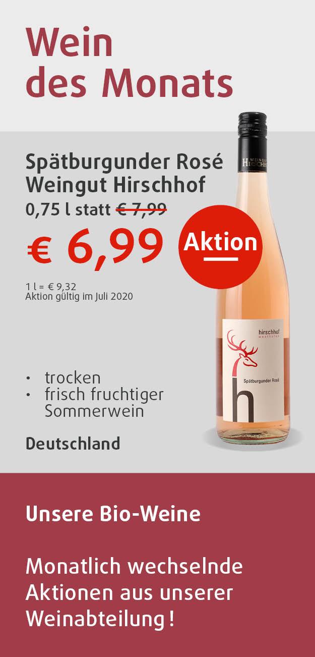 Spätburgunder Rosé vom Weingut Hirschhof 0,75l für 6,99 Euro in Aktion